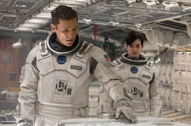 Interstellar starring Matthew McConaughey, Anne Hathaway, and Jessica Chastain.