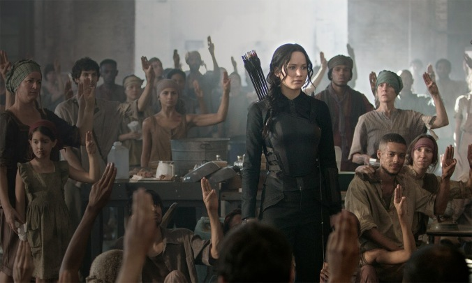 The Hunger Games: Mockingjay – Part 1 starring Jennifer Lawrence, Julianne Moore, Philip Seymour Hoffman, Liam Hemsworth, Woody Harrelson, Josh Hutcherson, and Donald Sutherland.