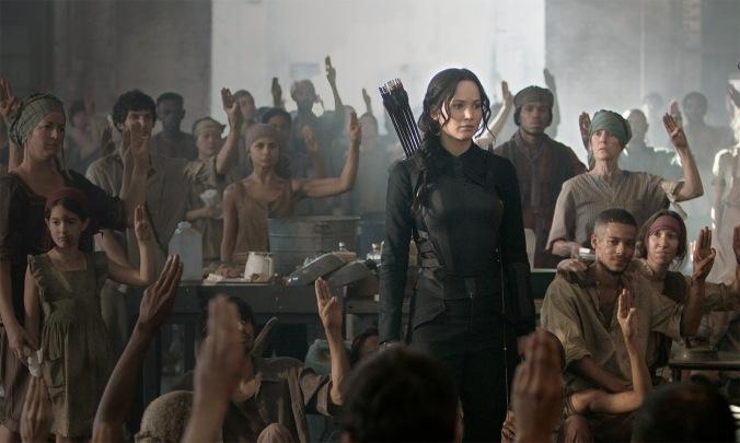 The Hunger Games: Mockingjay – Part 1 starring Jennifer Lawrence, Julianne Moore, Philip Seymour Hoffman, Liam Hemsworth, Woody Harrelson, Josh Hutcherson, and Donald Sutherland.