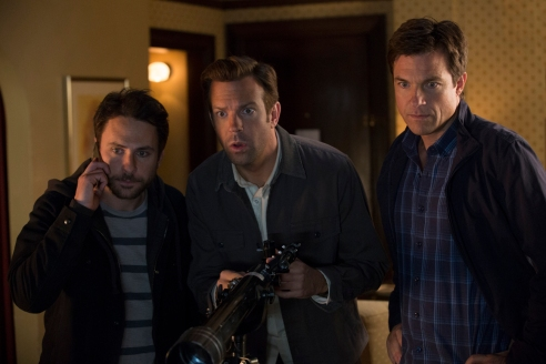 Horrible Bosses 2 starring Jason Bateman, Jason Sudeikis, Charlie Day, and Jennifer Aniston.