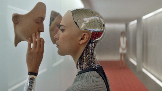 Ex Machina starring Domhnall Gleeson, Oscar Isaac, and Alicia Vikander