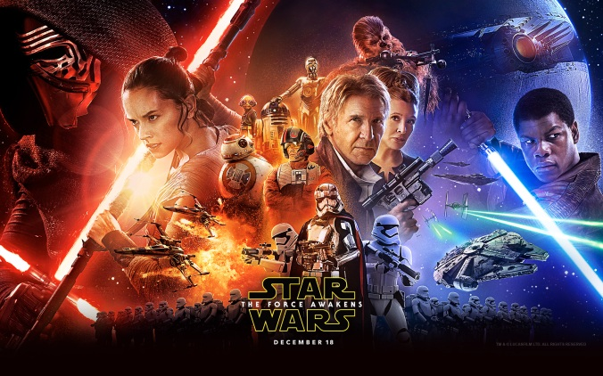 Star Wars: The Force Awakens starring Daisy Ridley, John Boyega, and Harrison Ford.
