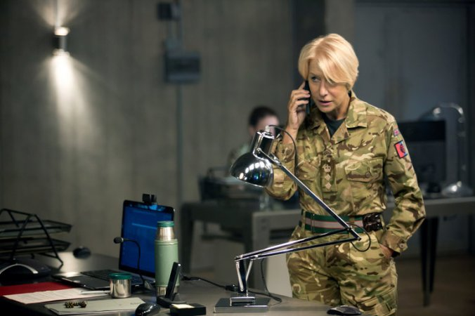 Eye in the Sky starring Helen Mirren, Alan Rickman, and Aaron Paul. Photo Credit: