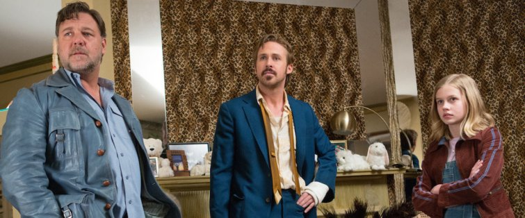 The Nice Guys starring Ryan Gosling, Russell Crowe, and Angourie Rice.